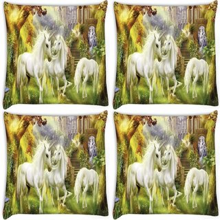 Snoogg Pack Of 4 Horses Art Large Digitally Printed Cushion Cover Pillow 10 x 10 Inch
