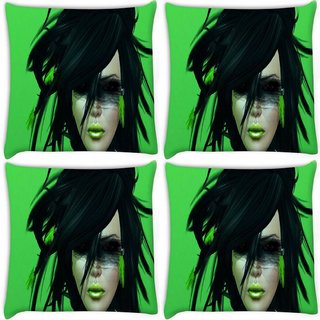 Snoogg Pack Of 4 Green Feather Girl Digitally Printed Cushion Cover Pillow 10 x 10 Inch