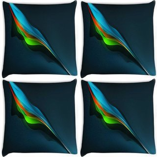Snoogg Pack Of 4 Feather Abstract Digitally Printed Cushion Cover Pillow 10 x 10 Inch