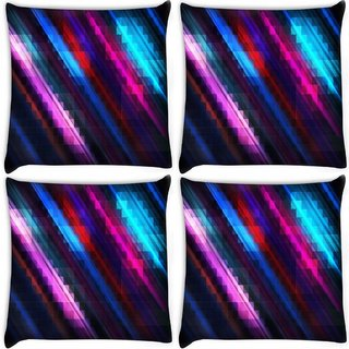 Snoogg Pack Of 4 Squares And Lines Digitally Printed Cushion Cover Pillow 10 x 10 Inch