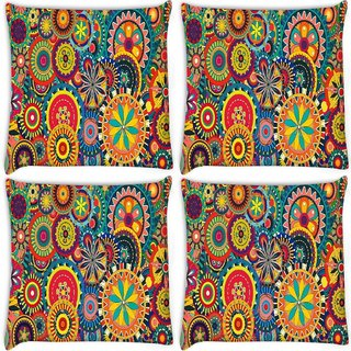 Snoogg Pack Of 4 Formas Florales Digitally Printed Cushion Cover Pillow 10 x 10 Inch