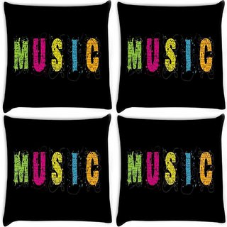 Snoogg Pack Of 4 Music Digitally Printed Cushion Cover Pillow 10 x 10 Inch