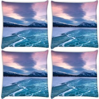 Snoogg Pack Of 4 Nature Frozen Sea Digitally Printed Cushion Cover Pillow 10 x 10 Inch