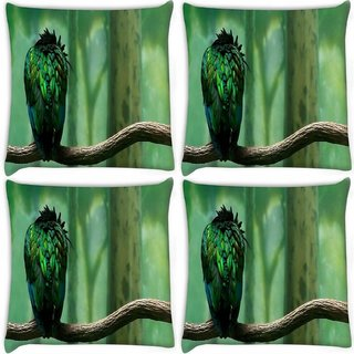 Snoogg Pack Of 4 Green Feathered Bird Digitally Printed Cushion Cover Pillow 10 x 10 Inch