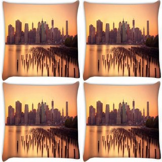 Snoogg Pack Of 4 New York Docks Digitally Printed Cushion Cover Pillow 10 x 10 Inch