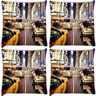 Snoogg Pack Of 4 New York Time Square At Night Digitally Printed Cushion Cover Pillow 10 x 10 Inch