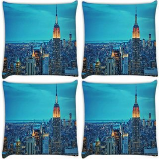 Snoogg Pack Of 4 New York Tower Digitally Printed Cushion Cover Pillow 10 x 10 Inch