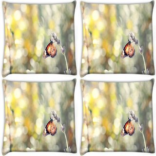 Snoogg Pack Of 4 Climbing Butterfly Digitally Printed Cushion Cover Pillow 10 x 10 Inch