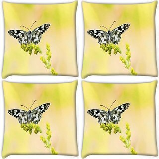 Snoogg Pack Of 4 Black And Grey Butterfly Digitally Printed Cushion Cover Pillow 10 x 10 Inch