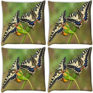 Snoogg Pack Of 4 Amazing Butterflies Digitally Printed Cushion Cover Pillow 10 x 10 Inch