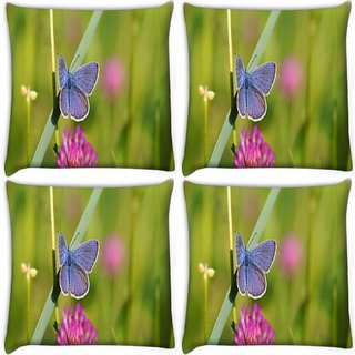 Snoogg Pack Of 4 Butterfly In Green Grass Digitally Printed Cushion Cover Pillow 10 x 10 Inch