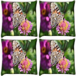 Snoogg Pack Of 4 Multicolor Butterfly In Pink Flower Digitally Printed Cushion Cover Pillow 10 x 10 Inch
