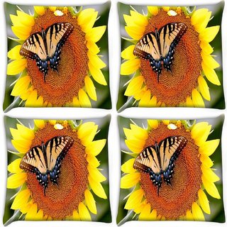 Snoogg Pack Of 4 Butterfly Seeking Honey From Sunflower Digitally Printed Cushion Cover Pillow 10 x 10 Inch