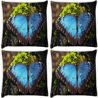 Snoogg Pack Of 4 Blue Butterfly Digitally Printed Cushion Cover Pillow 10 x 10 Inch