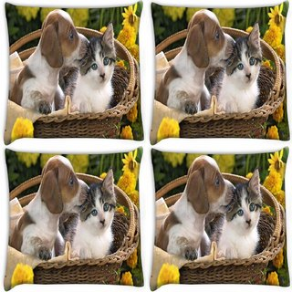 Snoogg Pack Of 4 Loving Puppy Digitally Printed Cushion Cover Pillow 10 x 10 Inch