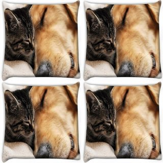 Snoogg Pack Of 4 Dog And Cat Sleeping Digitally Printed Cushion Cover Pillow 10 x 10 Inch