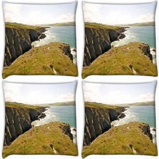 Snoogg Pack Of 4 Hill Side View Digitally Printed Cushion Cover Pillow 10 x 10 Inch