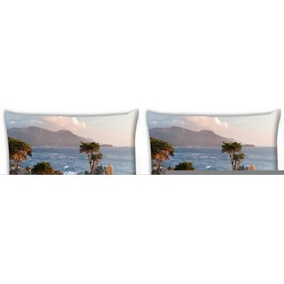 Snoogg Pack Of 4 Trees Near The Sea Digitally Printed Cushion Cover Pillow 10 x 10 Inch