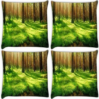 Snoogg Pack Of 4 Garden Forest Digitally Printed Cushion Cover Pillow 10 x 10 Inch