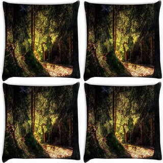 Snoogg Pack Of 4 Falling Sun Light In Forest Digitally Printed Cushion Cover Pillow 10 x 10 Inch