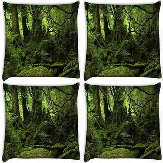Snoogg Pack Of 4 Green Grass On Trees Digitally Printed Cushion Cover Pillow 10 x 10 Inch