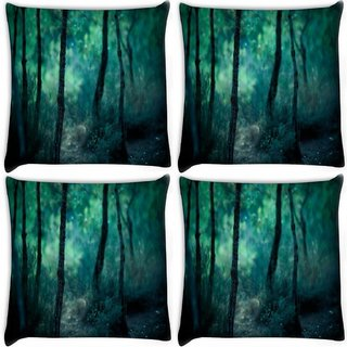 Snoogg Pack Of 4 Thin Branch Tree Digitally Printed Cushion Cover Pillow 10 x 10 Inch