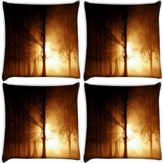 Snoogg Pack Of 4 Focus Sunlight On Trees Digitally Printed Cushion Cover Pillow 10 x 10 Inch
