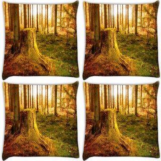 Snoogg Pack Of 4 Cutting The Tree Digitally Printed Cushion Cover Pillow 10 x 10 Inch