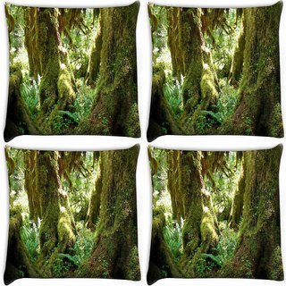 Snoogg Pack Of 4 Amazing Tree Digitally Printed Cushion Cover Pillow 10 x 10 Inch