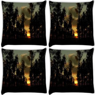 Snoogg Pack Of 4 Sunset In Forest Digitally Printed Cushion Cover Pillow 10 x 10 Inch