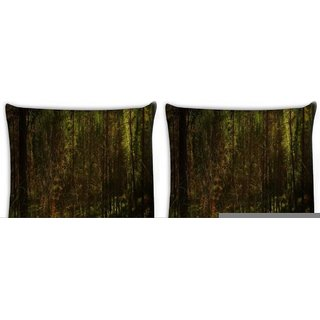 Snoogg Pack Of 4 Forest Grass Digitally Printed Cushion Cover Pillow 10 x 10 Inch