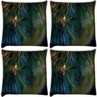 Snoogg Pack Of 4 Christmas Tree Branch Digitally Printed Cushion Cover Pillow 10 x 10 Inch