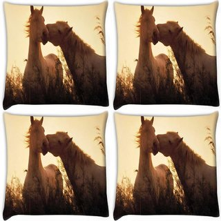 Snoogg Pack Of 4 White Horses Digitally Printed Cushion Cover Pillow 10 x 10 Inch