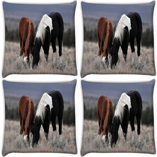 Snoogg Pack Of 4 Black And Brown Horse Digitally Printed Cushion Cover Pillow 10 x 10 Inch