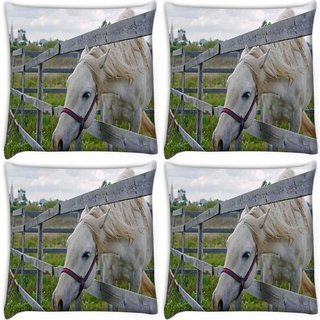 Snoogg Pack Of 4 White Horse Digitally Printed Cushion Cover Pillow 10 x 10 Inch