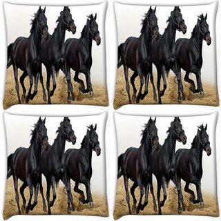 Snoogg Pack Of 4 Black Horses Running Digitally Printed Cushion Cover Pillow 10 x 10 Inch