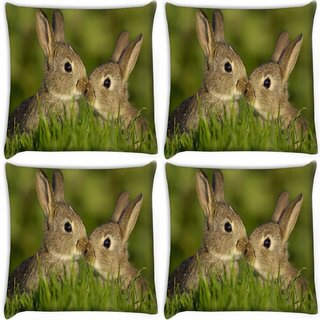 Snoogg Pack Of 4 Rabbit Digitally Printed Cushion Cover Pillow 10 x 10 Inch