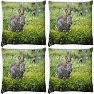 Snoogg Pack Of 4 Couple Of Rabbit Digitally Printed Cushion Cover Pillow 10 x 10 Inch