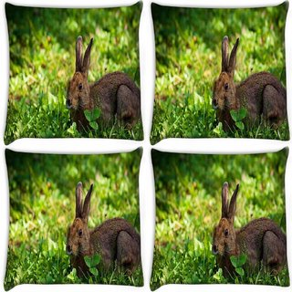 Snoogg Pack Of 4 Rabbit Sitting Digitally Printed Cushion Cover Pillow 10 x 10 Inch