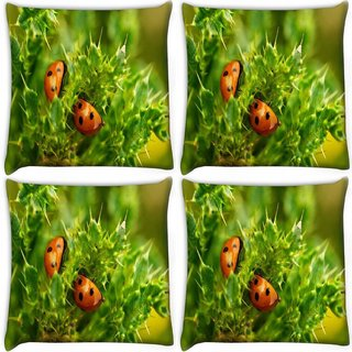 Snoogg Pack Of 4 Beatelin Green Leaves Digitally Printed Cushion Cover Pillow 10 x 10 Inch