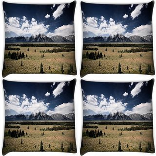 Snoogg Pack Of 4 Clouds Flowing In A Row Digitally Printed Cushion Cover Pillow 10 x 10 Inch