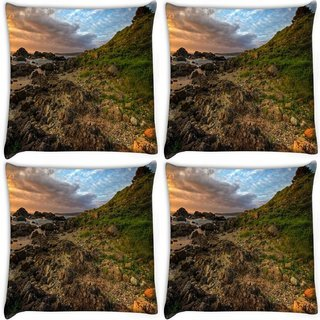 Snoogg Pack Of 4 Brown Rocks Digitally Printed Cushion Cover Pillow 10 x 10 Inch
