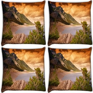 Snoogg Pack Of 4 Orange Clouds Digitally Printed Cushion Cover Pillow 10 x 10 Inch