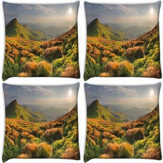 Snoogg Pack Of 4 Colorful Grass Digitally Printed Cushion Cover Pillow 10 x 10 Inch