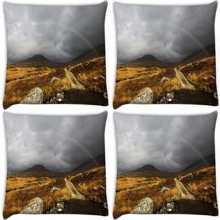Snoogg Pack Of 4 Rainbow Digitally Printed Cushion Cover Pillow 10 x 10 Inch