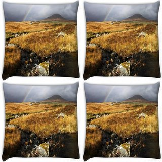 Snoogg Pack Of 4 Water Flowing Digitally Printed Cushion Cover Pillow 10 x 10 Inch