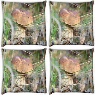 Snoogg Pack Of 4 Cream Mushrrom Digitally Printed Cushion Cover Pillow 10 x 10 Inch