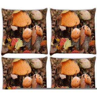 Snoogg Pack Of 4 Orange Mushroom Digitally Printed Cushion Cover Pillow 10 x 10 Inch