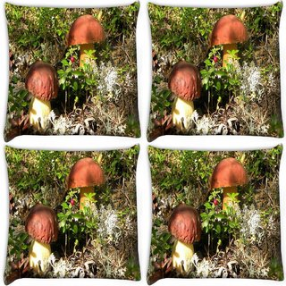 Snoogg Pack Of 4 Yellow Stem Mushroom Digitally Printed Cushion Cover Pillow 10 x 10 Inch