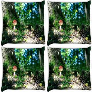 Snoogg Pack Of 4 Colorful Mushroom Digitally Printed Cushion Cover Pillow 10 x 10 Inch